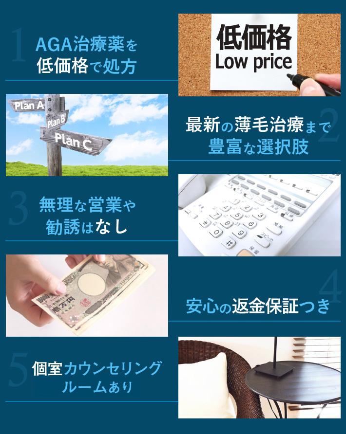 AGA治療薬を低価格で処方/最新の薄毛治療まで豊富な選択肢/無理な営業や勧誘はなし/安心の返金保証つき/個室待合あり